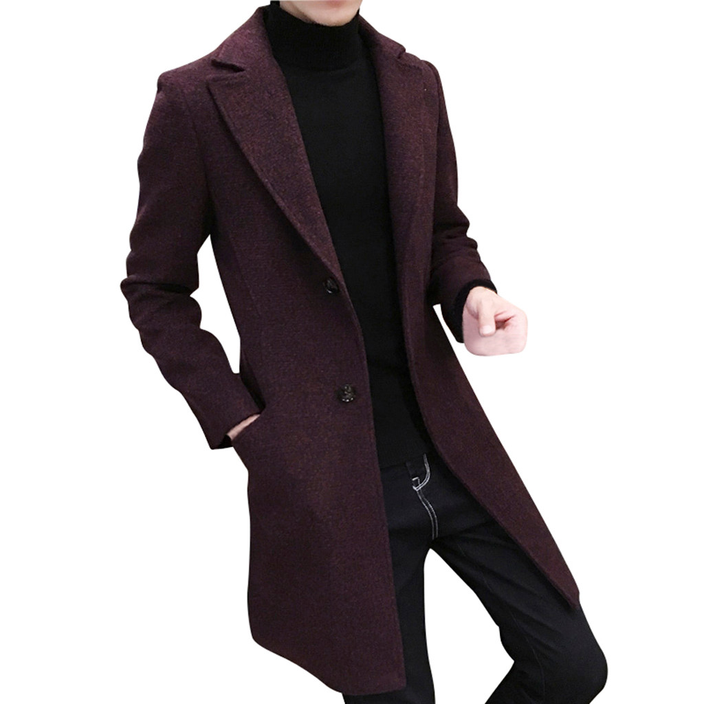 JAYCOSIN 2018 brand new Coat Men Formal Single Breasted Figuring Overcoat Long Wool Jacket Outwear Warm Windbreaker Male Coat(China)