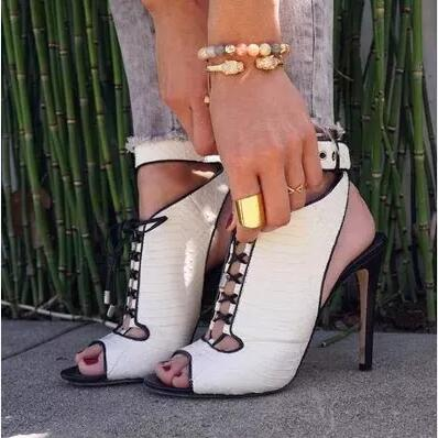 2017 New Hot Summer Fashion Women Black and White Peep Toe Cuts Out Gladiator Lace Up Thin Heels High Heel Sandals Lady Shoes new 2017 hot selling fashion women luxury sexy black gladiator cuts out open toe lace up back 100 mm phaedra peacock sandals
