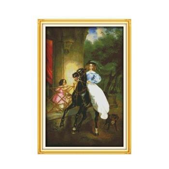 La Hípica mujer decoración Del hogar pinturas contadas impreso sobre lienzo DMC...