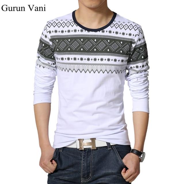 2017 New Mens Long Sleeved Print T-Shirts Fashion Casual Slim Fit Cotton T Shirt Men Brand Clothing Tees Tshirt Homme 5XL T209
