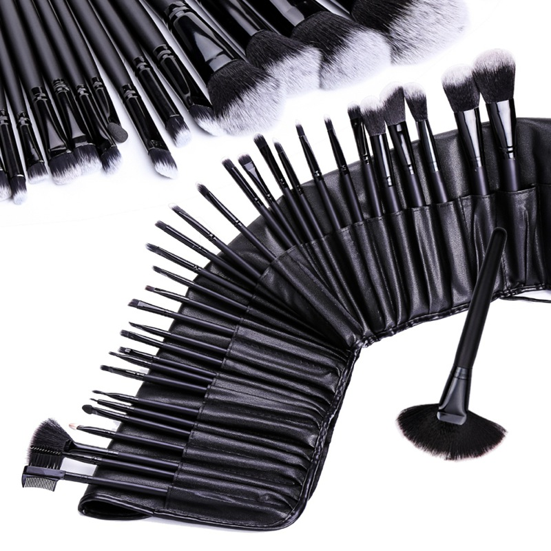 32 stücke Make-Up Pinsel Kosmetische <font><b>Kit</b></font> Augenbraue Erröten Foundation Puder Make-up Pinsel <font><b>Set</b></font> Mit Schwarz Fall image