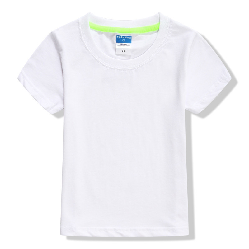 High Quality Kids Basic T Shirts Girls Boys White Blank