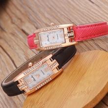 2017 New Fashion Ladies' Diamond Bracelet Watches Women Top Brand Luxury Rectangle Ultra Slim Leather Strap Wrist Watches