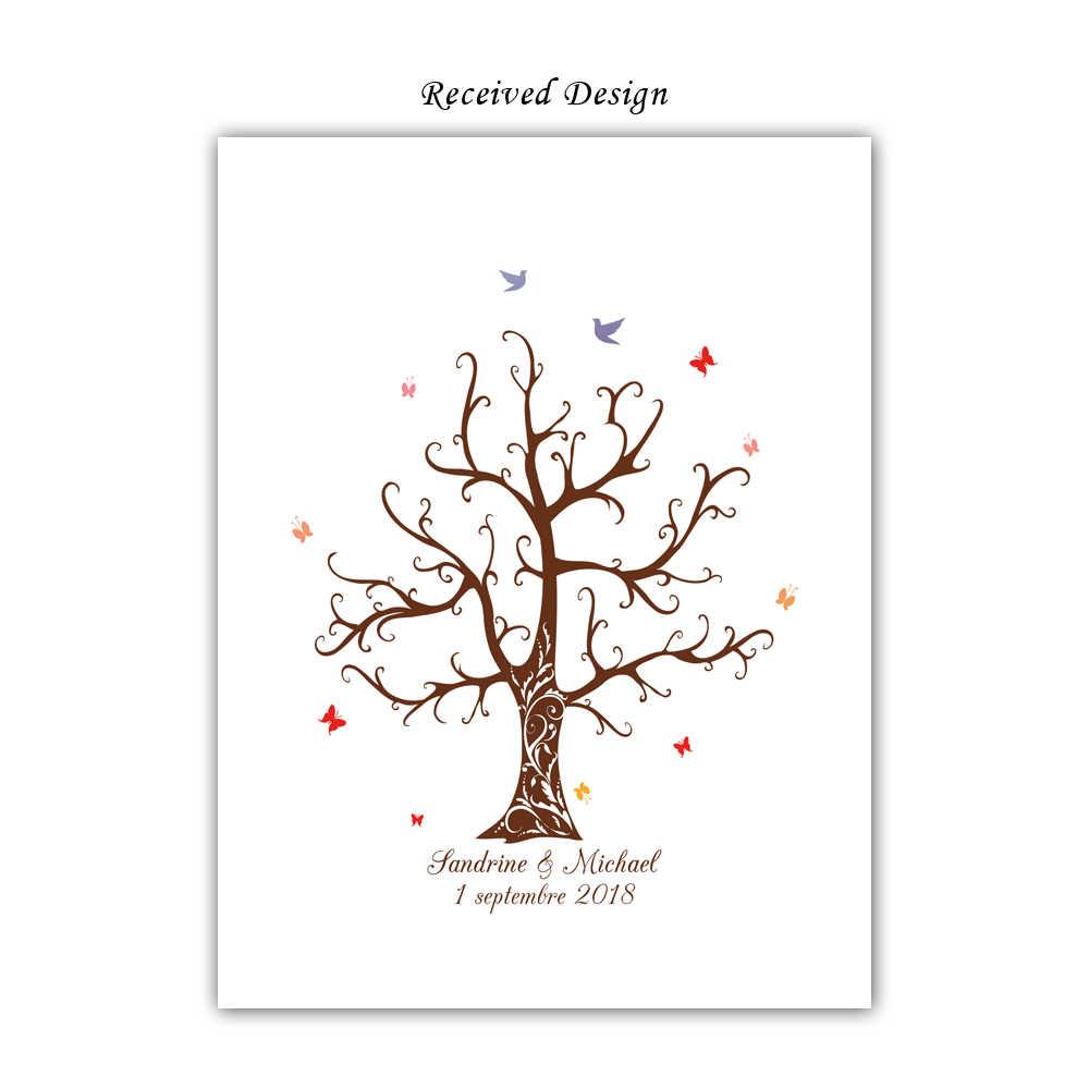 おかしいカスタム名前日付 DIY 指紋署名ゲストブック、含むインクパッド、布印刷結婚式のパーティーの装飾