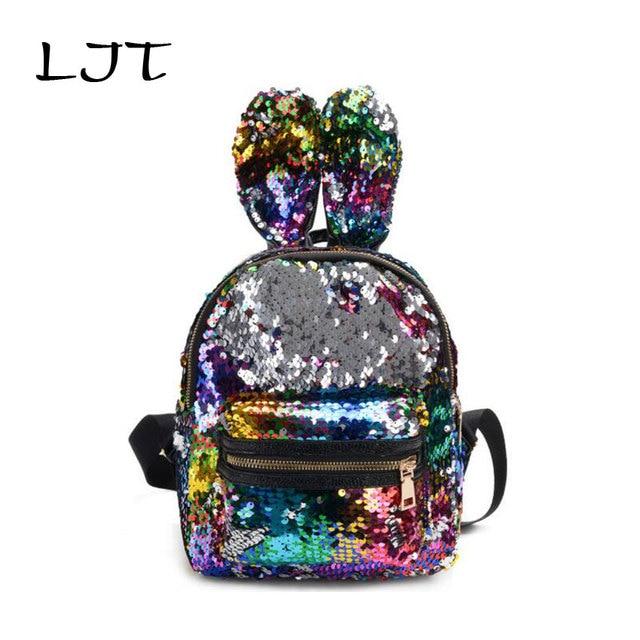 LJT 2019 Hot Fashion Rabbit Backpack Lady Cartoon Sequins School Backpack Travel Satchel Girls Student Panelled Zipper Backpack