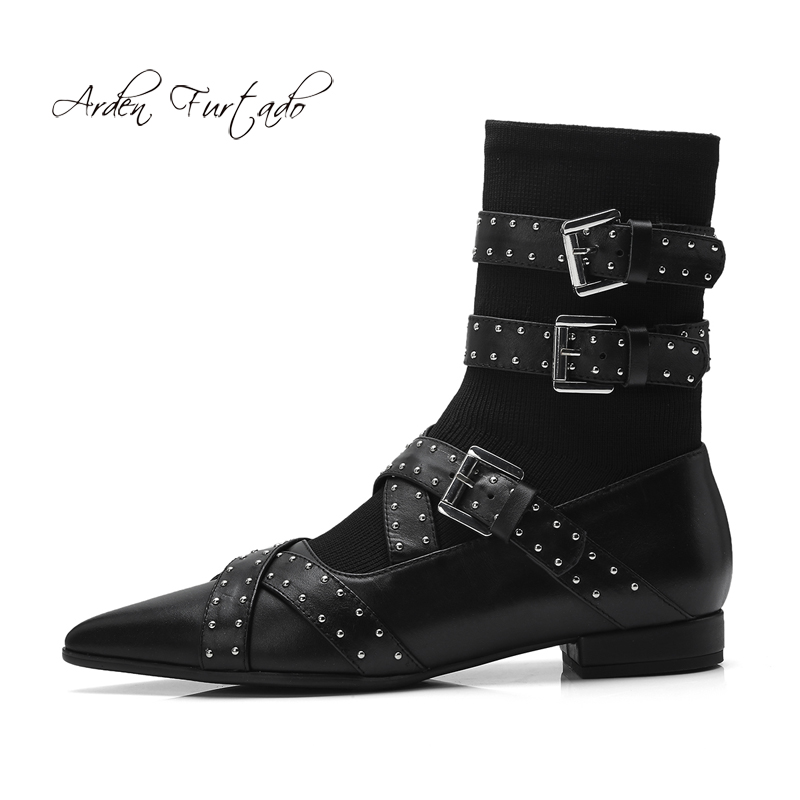 Arden Furtado 2018 spring autumn genuine leather pointed toe ankle boots black slip on women's shoes rivets fashion matin boots