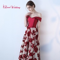 A Line Red Lace Evening Dress Long Prom Party Dresses Evening Gown Formal Dress Women Elegant Robe De Soiree