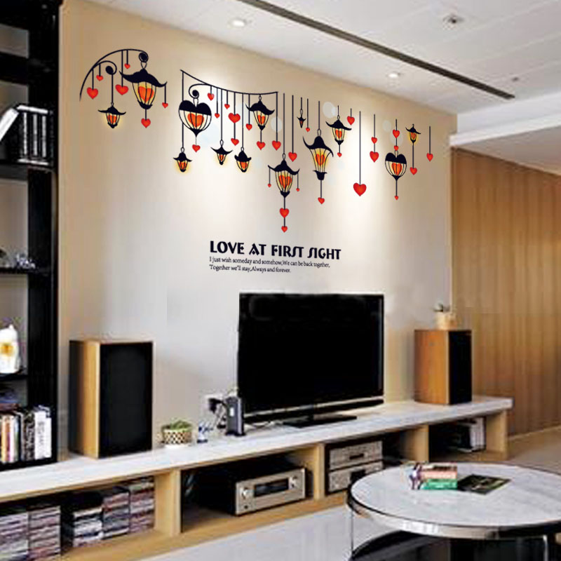 Fundecor Love Lights Wall Stickers Home Decor Living Room Couple