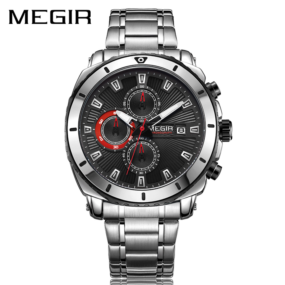 MEGIR Chronograph Quartz Men Watch Luxury Brand Stainless Steel Business Wrist Watches Men Clock Hour Time Relogio Masculino luxury brand jedir male watches chronograph stainless steel quartz watch men business waterproof wrist watch relogio masculino