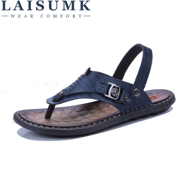 2020 LAISUMK Summer Genuine Leather Sandals Men Casual Sandals Leather Beach Slippers Fashion Male Flip Flops Sandalias