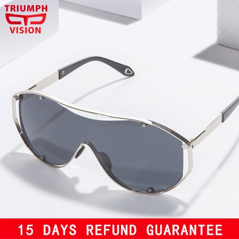 TRIUMPH VISÃO UV400 Escudo Óculos De Sol Dos Homens de Moda Extragrande  Shades Originais Masculino Espelho de Prata Lentes Oculos de sol masculino 67d28d6cef
