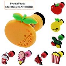 цена на 1pc Lovely Shoes Accessories Flower Creative Cartoon Spring Shoe Charm Buckle Fruit Burger Buckle Kids Funny Shoes Accessories