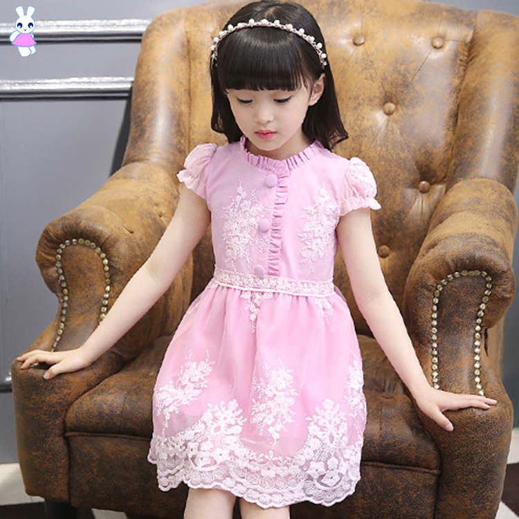 Girl princess Dress Children Clothes Summer Girls Party Dress Cotton 2-14Y Kids Embroidery Short-sleeved evening Dresses