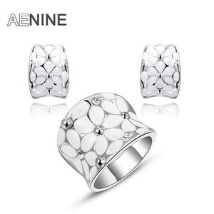 AENINE Flower Rhinestone Stone Earring Ring Jewelry Set