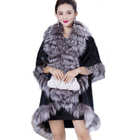 Opulent Real Best Cape Women Fox Fur Wraps Coat Lady Winter Warm Poncho Black Large Fur Collar Coats