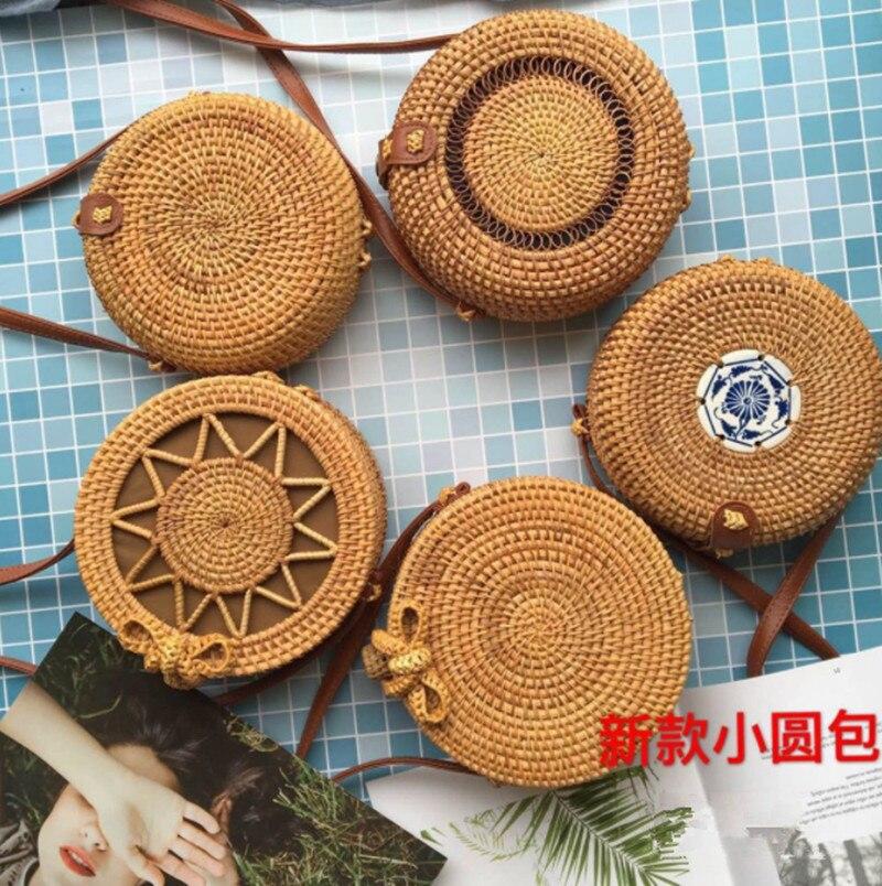Новый Остров Баали ручной работы плетеный мешок для женщин круглый ротанга соломенная сумка женская квадратная пряжка соломенная сумка же