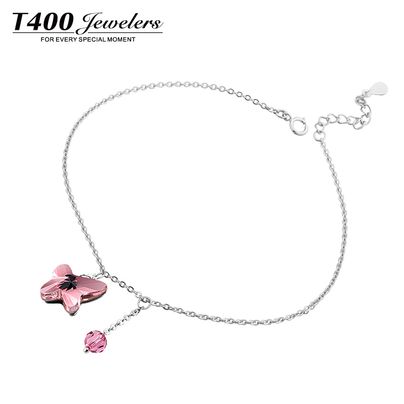 Best Gifts T400 Women Fashion Made with Swarovski Elements Crystal Butterfly Light Rose and Montana Anklet