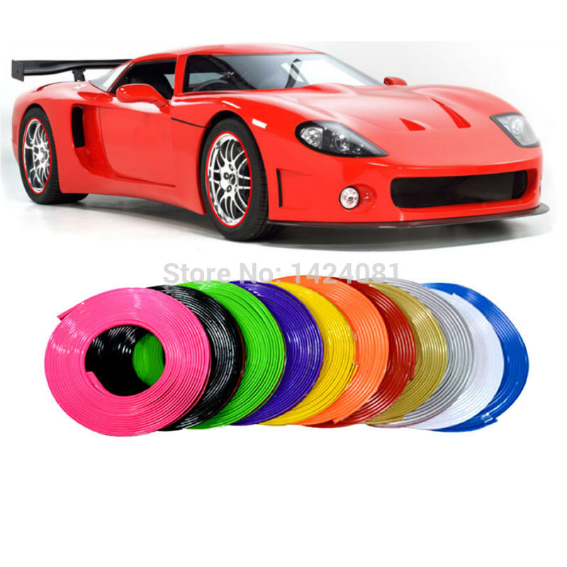 7m WHEEL RIM PROTECTOR TIRE GUARD LINE RUBBER MOULDING STRIPE-RED YELLOW BLUE WHITE Golden Pink Green Orange wheel protector