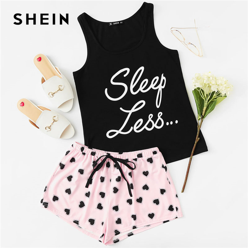 SHEIN Letter Print Top Drawstring Waist Shorts Pajama Set Women Sleeveless Drawstring Preppy Nightwear 2018 Casual Sleepwear(China)