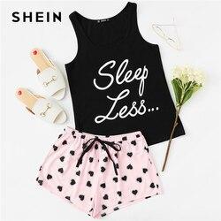 SHEIN топ с буквенным принтом, шорты с завязками на талии, пижамный комплект для женщин, без рукавов, с завязками, элегантный дизайн, одежда для ...