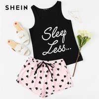 Shein carta impressão superior cordão cintura shorts conjunto de pijama feminino sem mangas cordão preppy pijamas 2018 casual