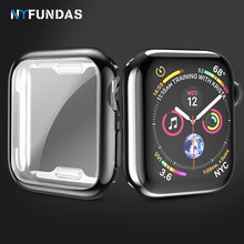 NYFundas etui do apple watch series 4 40MM 44MM silikonowy, odporny na wstrząsy, screenprotector pokrywa dla iwatch 4 verre trempe akcesoria(China)