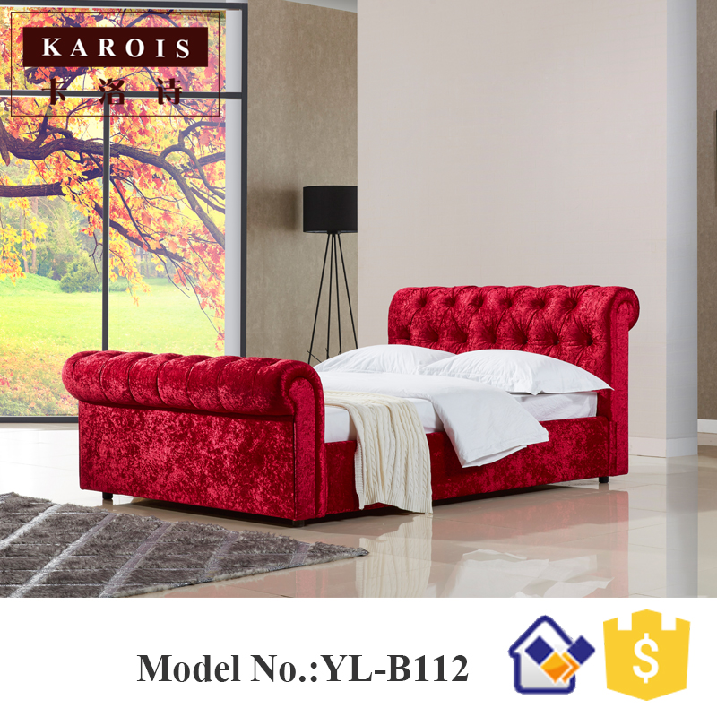 French Style Button Tufted Solid Wooden King Size Bed,bedroom Set Furniture  Cama