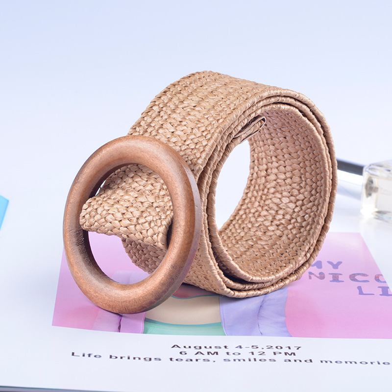 wood buckle Elastic Braided   belts   for women high quality Fashion designer luxury brand PP fake straw Leisure wide   belt   D26