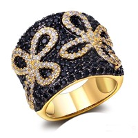 Flower Design Cute Women CZ Ring Black White Cubic Zirconia Setting Top Quality 18K Real Gold