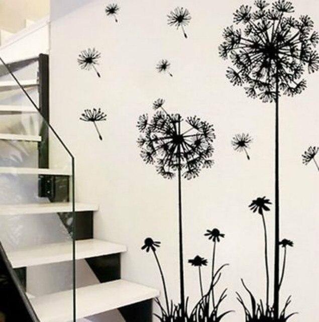 뜨거운 검은 민들레 앉아 방 침실 벽 스티커 벽에 가정 장식 벽 스티커