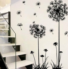 Hot black dandelion sitting room bedroom wall stickers household adornment wall stickers on the wall cheap ZOOYOO Plane Wall Sticker Modern Furniture Stickers For Wall Single-piece Package Plastic PLANT