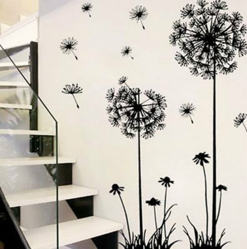 Wall-Stickers Dandelion Sitting-Room Bedroom On-The-Wall Black Adornment Household Hot title=