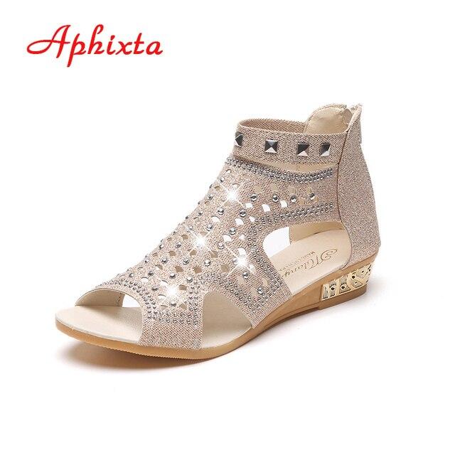 8c0e36a63b Women Cover Heel Wedge Sandal Soft Rubber Bottom Summer Women Sandal Zip  Peep-Toe Chaussure Black Wedges Lady Low Heel Sandals