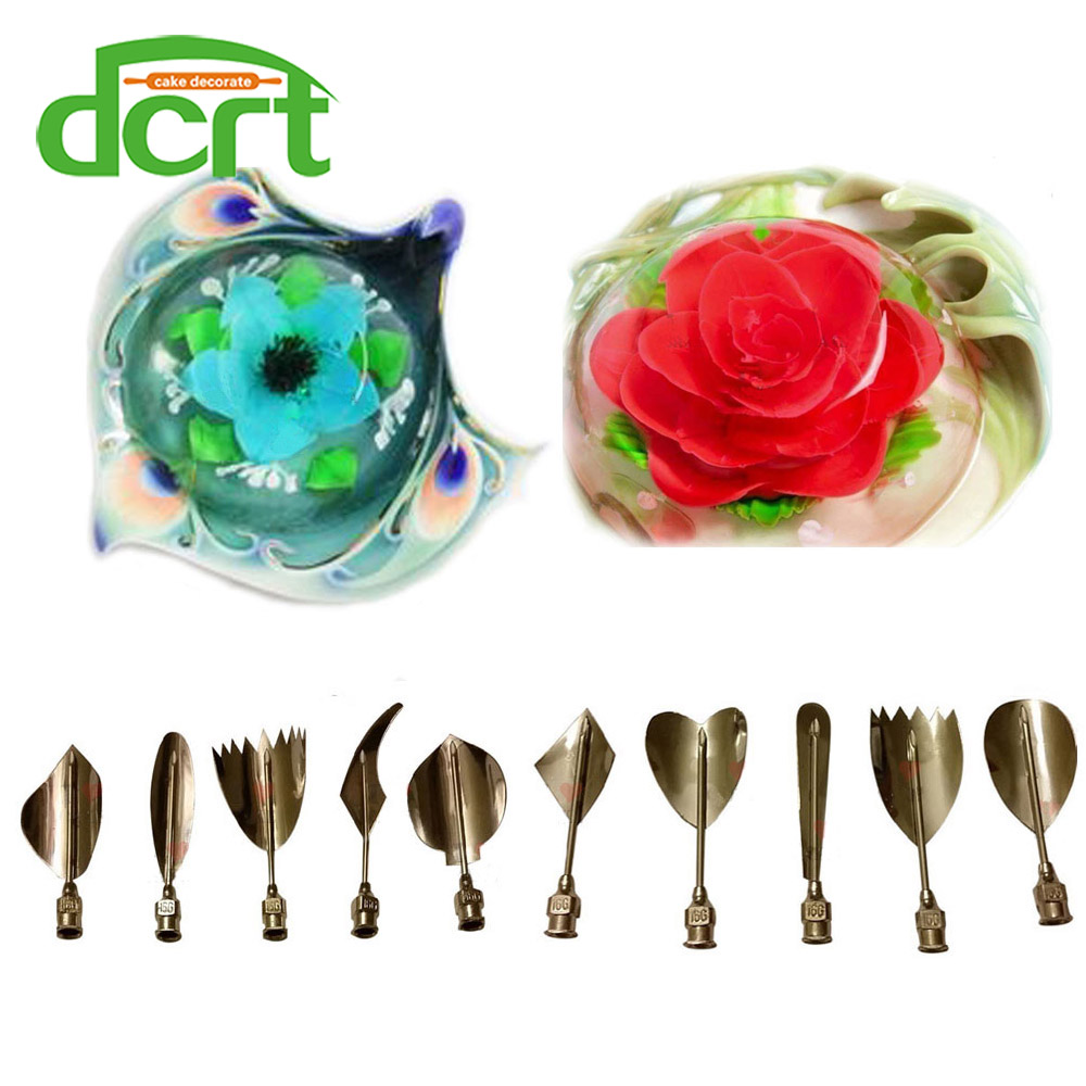 2016 desain baru alat 3d jelly, stainless steel 3D Jelly Bunga art gelatin alat Jello cake decorating alat 10 PCS / SET C