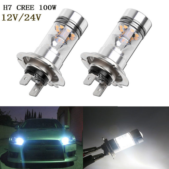 2x H7 5500k Oem White 100w Led 20 Smd Cree Chips Projector Fog Driving Drl Light Bulbs Car Bulb