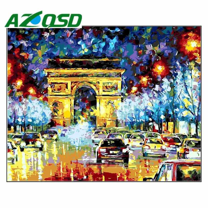 AZQSD Painting By Numbers Frameless 40x50cm Colorful Arcde Triomphe Oil Painting Picture By numbers On Canvas Home Decor szyh059
