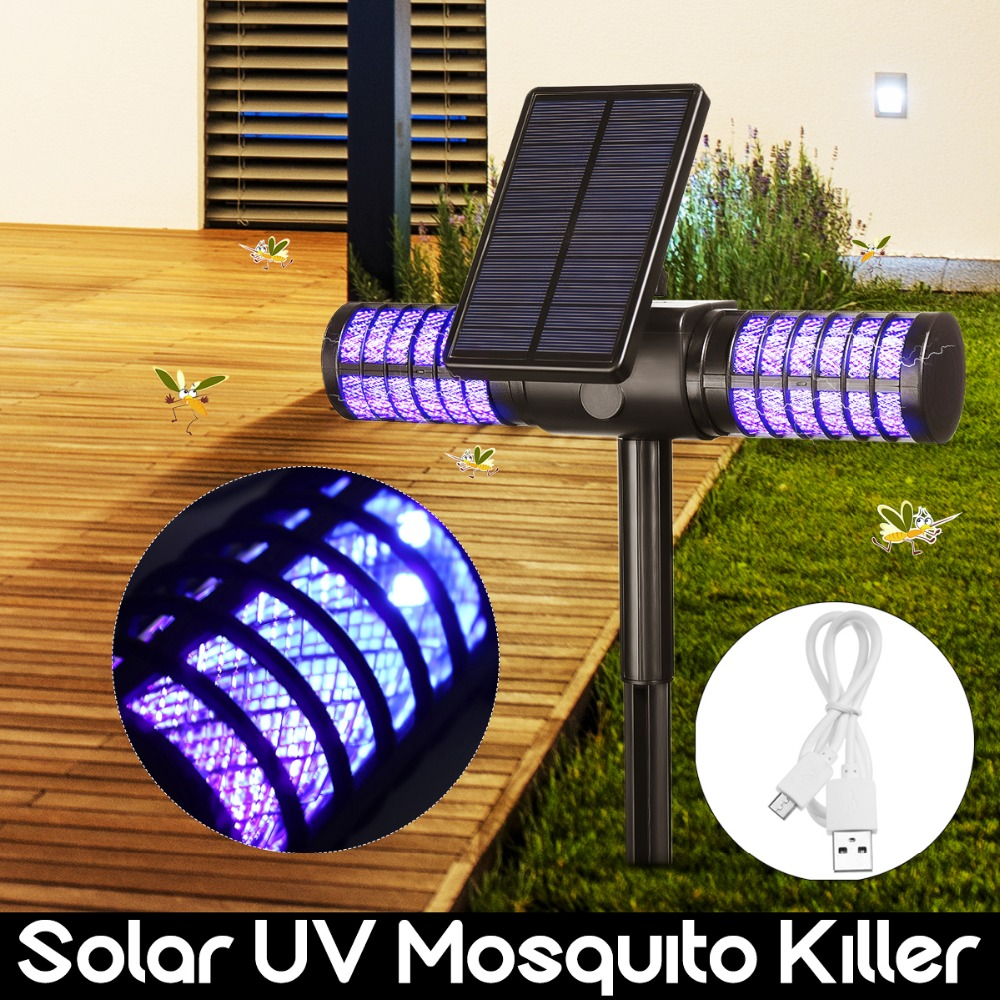 Solar Mosquito Killer Light USB Mosquito Repellent IP65 Insect Trap Lamp UV Bug Zapper Pest Control Repeller For Garden