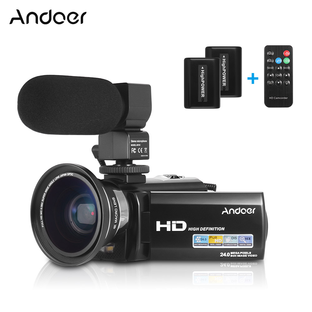 Andoer HDV-201LM 1080P FHD Digital Video Camera Camcorder DV Recorder 24MP 16X Digital Zoom 3.0 Inch LCD Screen