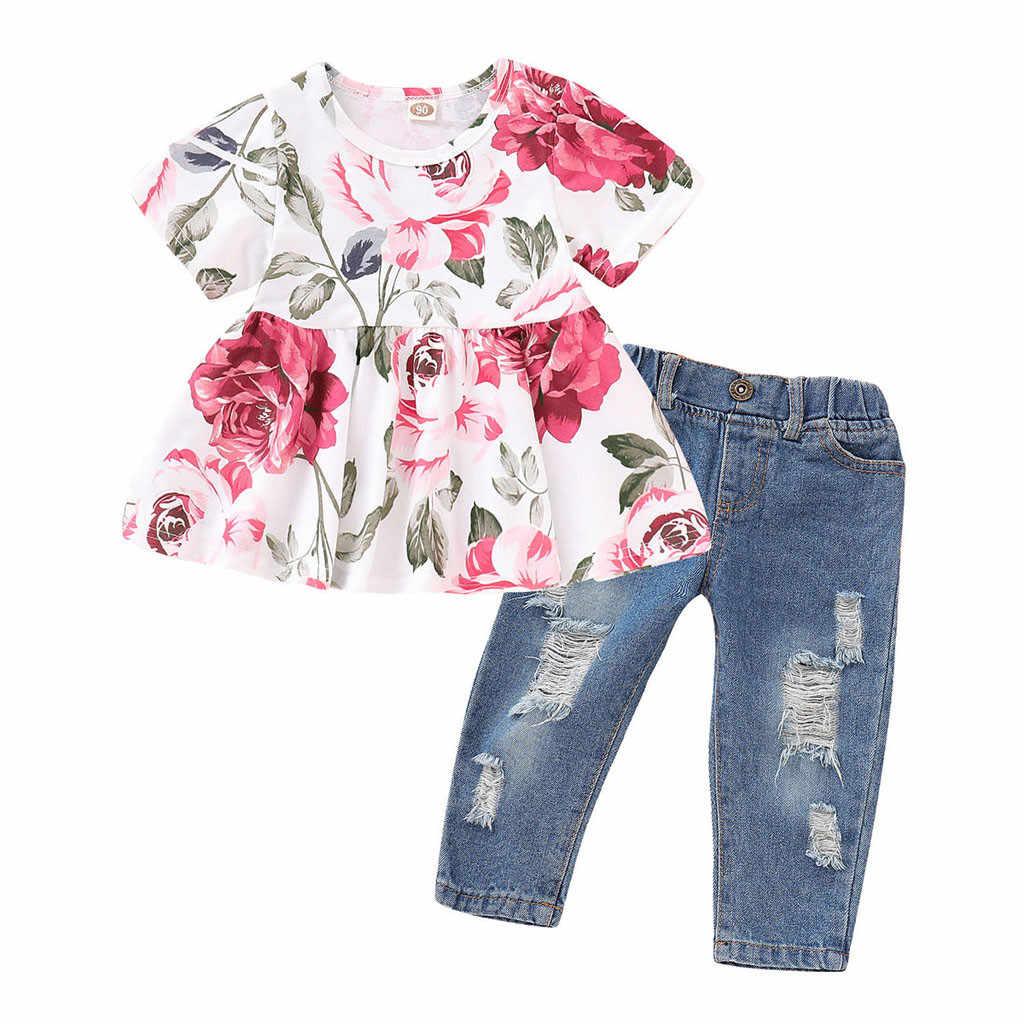19af3f6d4 ARLONEET bebé niñas traje de primavera y otoño niños Floral Tops + Denim  agujero pantalones de