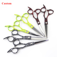 Custom professional japan 440c steel Retro color 6 inch hair scissors cutting barber salon thinning shears hairdressing scissors