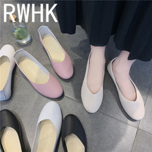 RWHK 2019 wild white nurse shoes flat womens with lazy students Korean version of the small B352