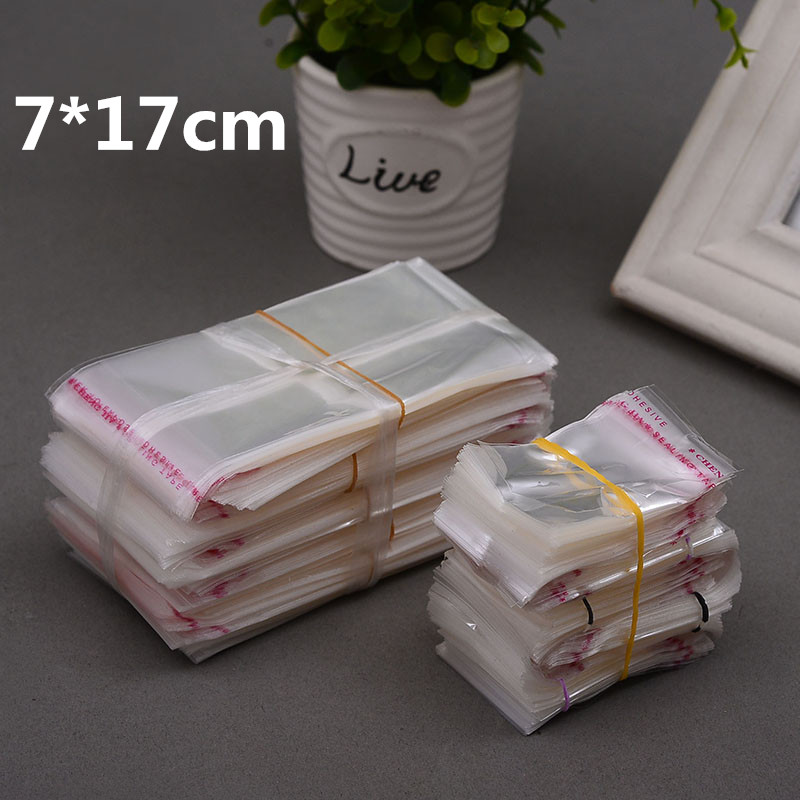 1000pcs 7*17cm Clear Transparent Self Adhesive Resealable Opp Poly Food Candy Jewelry Gift Bags Packing Credit Card Plastic Bag