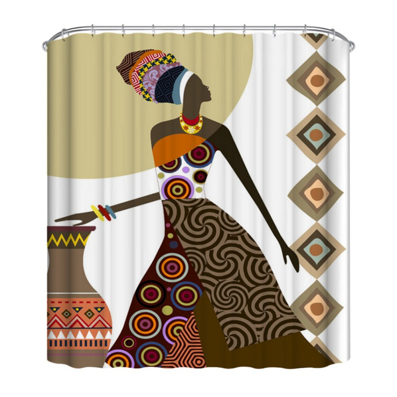 Polyester Printed Shower Curtain Waterproof Mouldproof Bathroom Decor Set With 12 C Shaped Hooks Fabric Bath Curtain in Shower Curtains from Home Garden