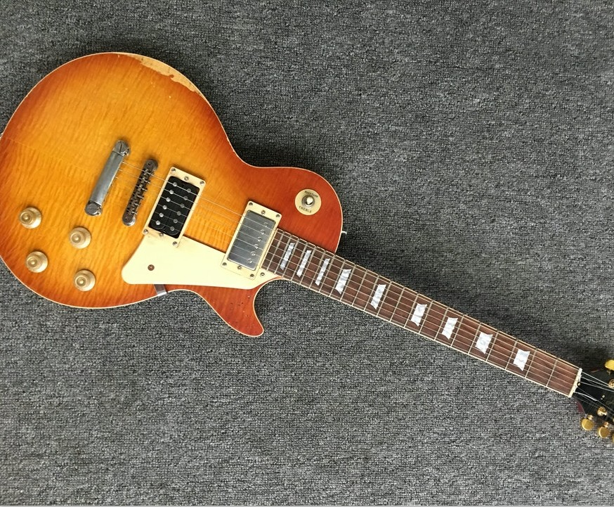 Custom Exclusive light relic LP electric guitar handmade aged lp guitar ,tiger striped maple cover one piece body and neck