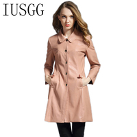 IUSGG Brand Women Light Pink Long Single Breasted Leather Coats 2017 Autumn Winter Plus Size Slim