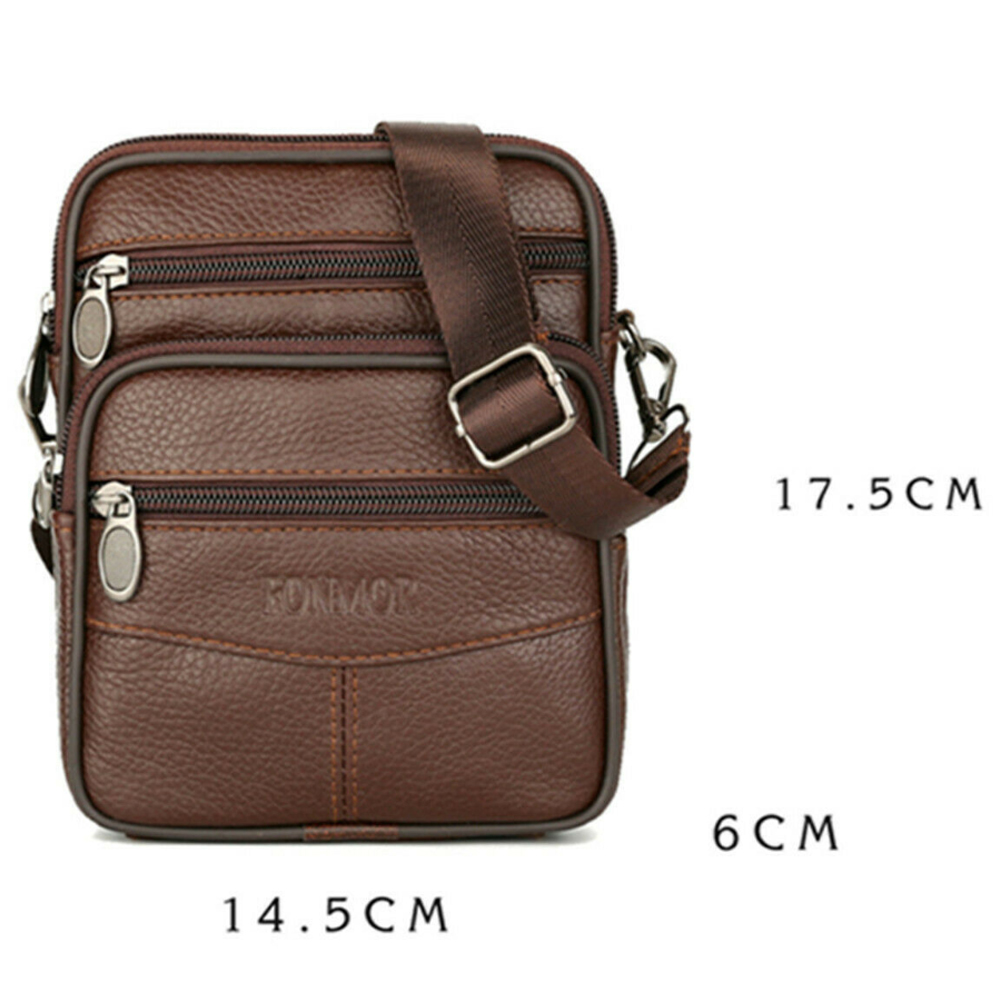 Mens Genuine Leather Manbag Business Travel Shoulder Bag Womens Handbag Brown