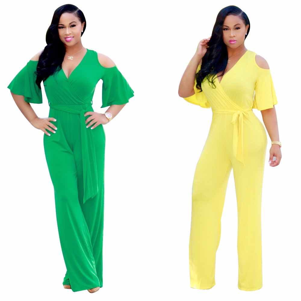 Hollow Out Women Belted High Waisted Long Loose Summer Jumpsuits Short Sleeve Monos Rompers and Jumpsuits Yellow/Green