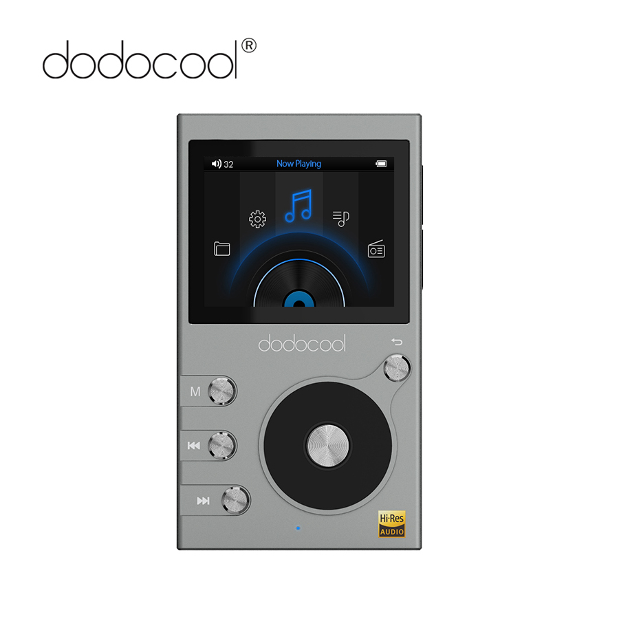 dodocool Hi res 8GB Mp3 Player Hi Fi Lossless Music Player with Radio Recorder FM Radio 2 LCD Display Support TF Card