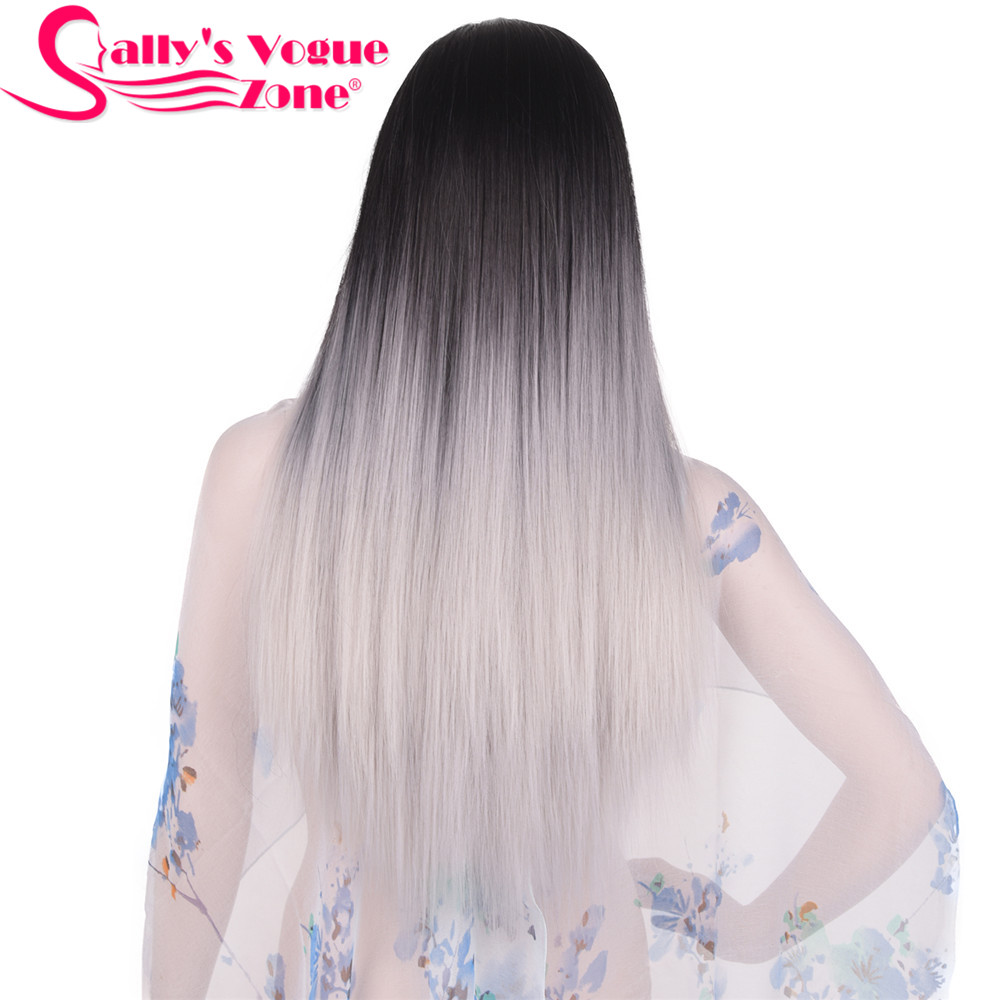 Sallyhair Ombre Black Silver Grey Color Long Straight Wigs 24 Inch Heat Resistent For Women Hair Synthetic Wigs