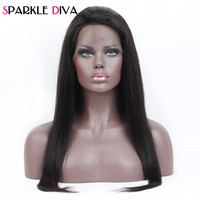 Sparkle Diva Lace Frontal Wigs With Baby Hair 10 24 Inch Brazilian Straight Remy Human Hair